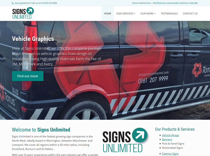 Portfolio item - Signs Unlimited website